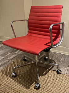 2007 Eames Herman Miller low back Exec Aluminum Group Desk Chair Red leather