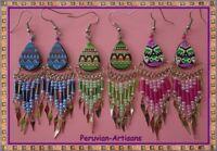 CUSCO PERU-ART LOT 30 P-EARRINGS OF CERAMIC TEARDROP GEOMETRICS DESIGNS!!