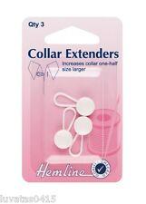 Hemline White Collar Button Extender For Shirts - Pack of 3
