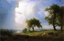 """Beautiful Oil painting California Spring landscape with cow in field canvas 36"""""""