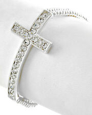 Bracelet, Sideways Cross Religious Brilliant Clear Crystal Beads Stretch #56-G