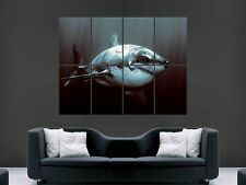 GREAT WHITE SHARK POSTER  ART WALL PICTURE   GIANT HUGE