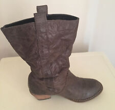 LADIES NEXT  BROWN LEATHER MIDCALF  COWBOY STYLE  BOOTS  UK 40