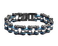 Mens Stainless Steel Double Link Black Silver Blue Bike Chain Bracelet US Seller