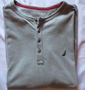 Men's NAUTICA L/S Large LG L Heather Gray Pajama  Henley Shirt Sleepwear