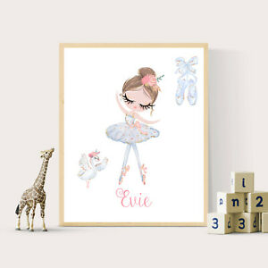 Ballerina and Swan Print - Personalized with Name - 8x10 Unframed