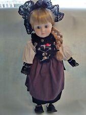 "Vtg Midori Zasan Porcelain Doll ""Bernertracht� Handmade In Switzerland 1988 16�"