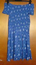 M&S Shirred Floral Print Off The Shoulder Dress 12-13yr 158cm Bright Indigo BNWT