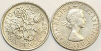 1953 to 1967 Elizabeth II Cupro-Nickel Sixpence Your Choice of Date  / Year