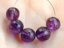 Natural African Amethyst Faceted Round Ball Semi Precious Gemstone Beads