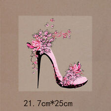 Flower High Heels Styling Patches 21.7*25cm Iron On Transfers For Clothing Women