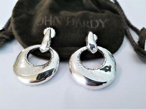"""JOHN HARDY Door Knocker Hammered Wavy Sterling Silver Earrings - 1 3/4"""" - MINT!"""