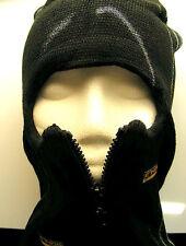 ZIPPERED Black KNIT SKI FACE MASK  WINTER HAT SKULL CAP BEANIE