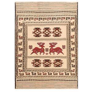 4'3 x 5'7 ft. Excellent Afghan Handmade Pictorial Soumak Kilim Wool Rug /7388/