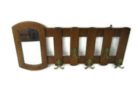 Mid Century Modern Wood Wall Shelf Coat Hat Kitchen Rack with Mirror French Oak