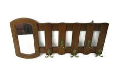 Mid Century Modern Wood Wall Shelf Coat Hat Kitchen Rack with Mirror French Oak