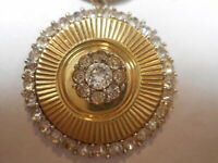 Vintage Art Deco Pop Art Necklace w/ 3d Brilliant Rhinestone Pendant