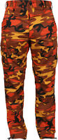 Mens Savage Orange Camouflage Cargo Army Camo Fatigues Military BDU Pants