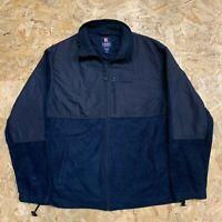 Chaps Ralph Lauren Capsule Fleece Full Zip Vintage Retro Navy Blue | Size Medium