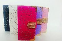 Crystal Bling Diamond  Flip Wallet Leather Case Cover For Apple IPhone Samsung