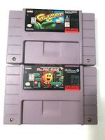 Ms. Pac-Man & Frogger SNES Super Nintendo Game Lot Tested - Working - Authentic!