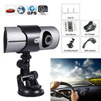 2.7'' 1080P Dual Lens Car Dash Cam Camera DVR Video Cycle Recorder G-Sensor GPS