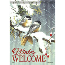 """Chickadee Pair Winter Welcome House Flag  28"""" x 40"""" Double sided by Carson"""