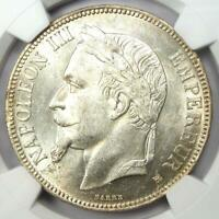 1869-BB France 5 Francs Napoleon III Coin 5F - Certified NGC MS60 (UNC) - Rare!