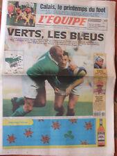 L'Equipe du 20/3/2000 - Tournoi France-Irlande- Calais - Poirée - Vincent- Burns