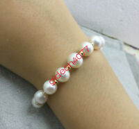"""7.5-8"""" Gorgeous AAA 9-10mm natural white south sea pearl bracelet 14k clasp"""