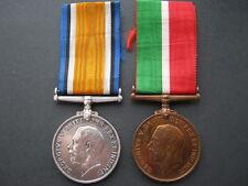 WWI Mercantile Marine and War medal pair to David S Craig WM renamed