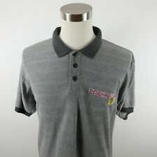 Vintage NHL Chicago Blackhawks Mens Short Sleeve Gray Polo Shirt Majestic Large