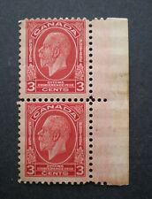 1932 Pair of King George V deep red 3¢ Scott # 192 - Mint Never Hinged
