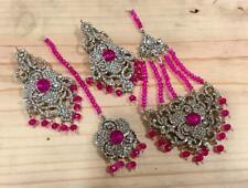 Indian Silver Pink Pearl Mang Tika Jhomar Head piece Earrings Set ** UK SELLER**