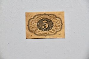 5 CENTS FIRST ISSUE FRACTIONAL CURRENCY FR 1230 STRAIGHT EDGES WITH MONOGRAM