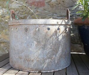 Vintage galvanised tub/strainer, LARGE very heavy,French, plant display,garden,