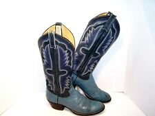 Vintage Mercedes Cowboy Boots Teal Blue Leather Mens Size 7 A Western