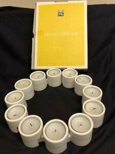 12 Ikea PS Varmeljushallare Interlocking White Ceramic Tealight Candle Holder