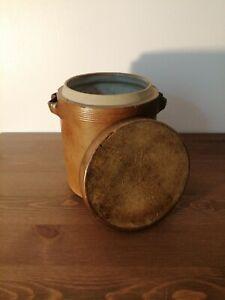 Ancien pot à graisse avec couvercle en grès vernissé n°2