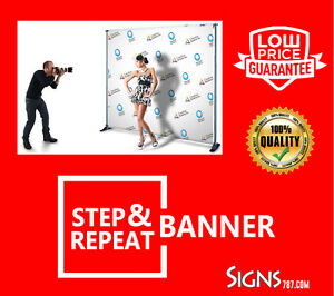 8'x8' Custom Full Color Vinyl Banner STEP & REPEAT BACKDROP Trade Show