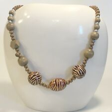 """24"""" Wooden Chunky Bead Necklace Animal  Print Tiger"""