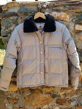 Burton Womens S Snap Front Coat Jacket Light Weight Gray Fur Collar Snowboard