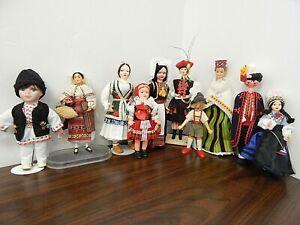 Lot of 10 EASTERN EUROPEAN Souvenir Dolls, Poland, Romania, Latvia, Czech., Yugo