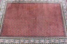ANTIKER ORIENTTEPPICH HANDGEKNÜPFT WOLLTEPPICH TEPPICH 193x126cm INDIEN SHALIMAR