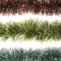 2m 6ply Thick Garland Snow Tipped Tinsel Christmas Tree Home Festive Decoration