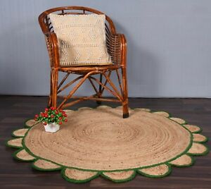 beige colour rug with green border scalloped round jute rug custom size jute rug