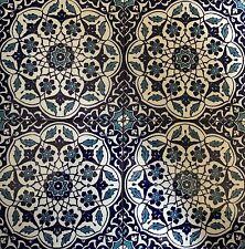 "Blue & White 16""x16"" Turkish Ottoman Iznik Floral Pattern Ceramic Tile Set"