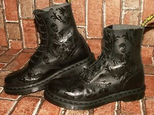 Dr. Martens AirWair CASSIDY SKULL PRINT leather boots uk 6 eu 39 us 8 Doc#143