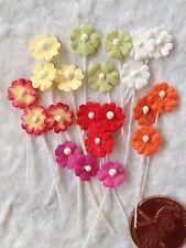 35 Flowers assorted mulberry paper tiny tear bear miniatures Dolls Hats Bouquet