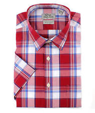 Peter England Bright Red Check Cotton Short Sleeve Shirt